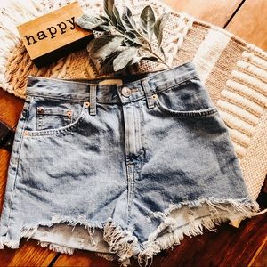 River Island ripped high waisted denim shorts
